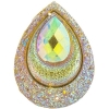 Resin Sew-on Peacock Stones 10pcs 30x40mm Drop Gold Aurora Borealis